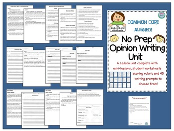 No Prep Opinion Writing Unit. 6 lessons, Writing Worksheets, 45 Prompts
