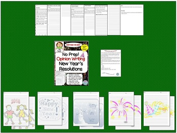 No Prep Opinion Writing for New Year's Resolutions- 2nd or 3rd Grade
