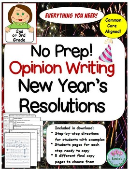 No Prep Opinion Writing for New Year's Resolutions- 2nd or