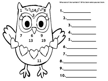 No Prep Owl Numbers 1-20