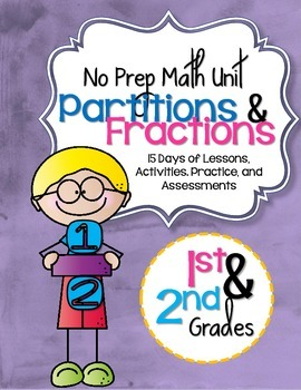 No Prep Partition & Fraction Unit 1st & 2nd Grade {CCSS}