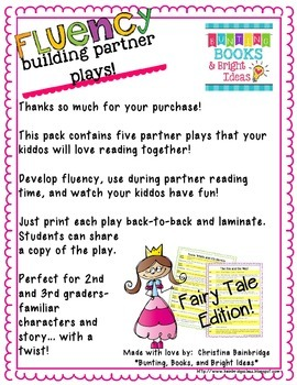 No Prep Partner Fluency Plays- Fairy Tale Edition 2nd and 3rd Grade