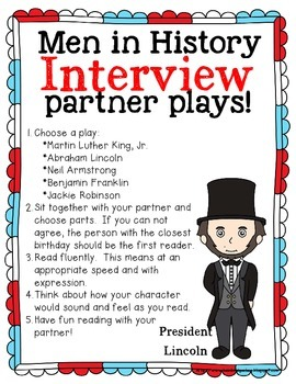 No Prep Partner Fluency Plays- Interviews with Men from History 2nd & 3rd Grade