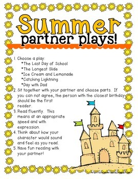 No Prep Partner Fluency Plays- Summer Edition 2nd and 3rd Grade