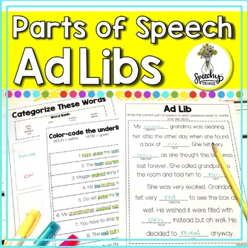 No Prep Parts of Speech Grammar Worksheets for Nouns Verbs and Adjectives