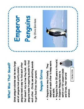 No Prep Penguin Mini-Book with Fact Organizer : Perfect for Guided Reading!