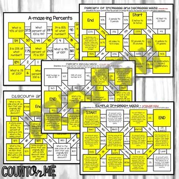 No Prep Percents Maze Bundle