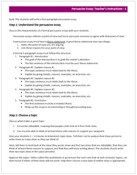 Argumentative /Persuasive Writing Unit for middle school (editable, scaffolded)