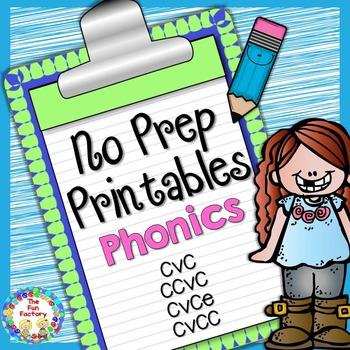 No Prep Phonics  {CVC, CCVC, CVCE, CVCC} for K-1