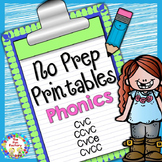 No Prep Phonics  CVC  CCVC  CVCE  CVCC for K and 1
