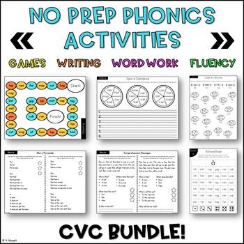No Prep Phonics CVC BUNDLE