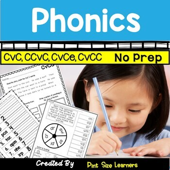 No Prep Phonics Worksheets CVC CCVC CVCE CVCC for K and 1