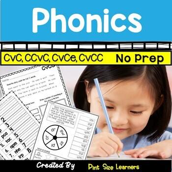 No Prep Phonics Worksheets CVC CCVC CVCE CVCC for K and 1