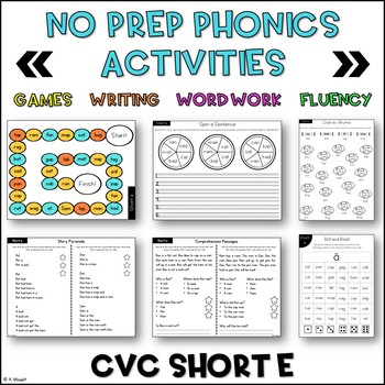 No Prep Phonics CVC Short E