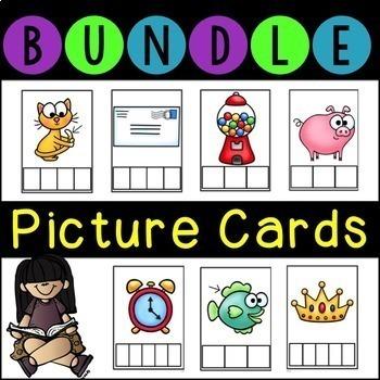 No Prep Phonics Picture Cards BUNDLE Letter and Sound Boxes