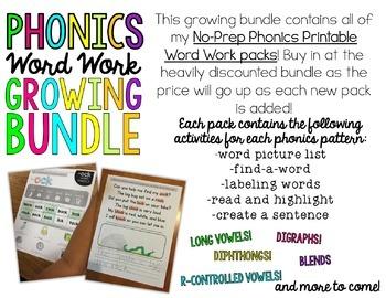 No Prep Phonics Word Work Printables GROWING BUNDLE