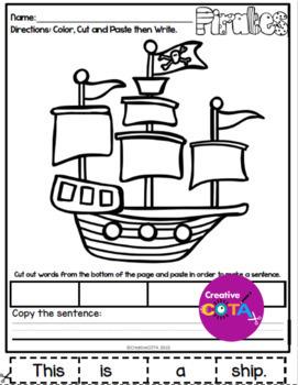 No Prep Pirate Coloring, Cut and Paste Sentences
