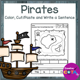 No Prep Pirate Coloring, Cut and Paste Sentence Worksheets