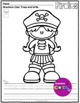 No Prep Pirate Coloring and Sentence Trace and Write