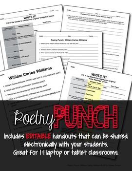 No Prep Poetry Punch: William Carlos Williams Common Core Aligned