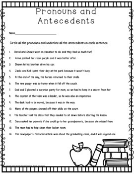 No-Prep - Possessive Pronouns, Antecedents and More
