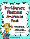 No Prep! Pre-Literacy, Phonemic Awareness Pack
