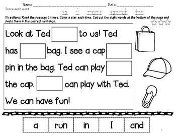 No Prep Pre Primer Sight Words Cut and Paste Sentences Fill in the Word