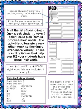 No Prep Prefixes Spelling Word Lists and Activities