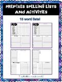 No Prep Prefixes Spelling Word Lists and Activities