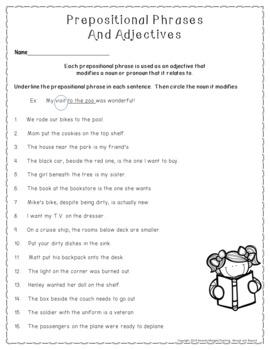 No-Prep - Prepositional Phrases modifiying Adjectives and Adverbs