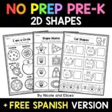 No Prep Preschool 2D Shapes - Distance Learning