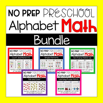 No Prep Preschool and Kindergarten Alphabet Themed Math Worksheets