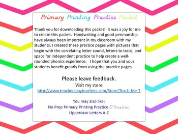 No Prep Primary Printing Practice Lowercase Letters ~D'Nealian