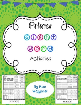 No Prep Primer Sight Word Activities