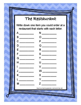 "No Prep Print and Present 30 Minute Therapies Divergent Naming ""The Restaurant"""