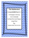 """No Prep Print and Present 30 Minute Therapies Divergent Naming """"The Restaurant"""""""