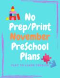 No Prep/Print November Lesson Plans