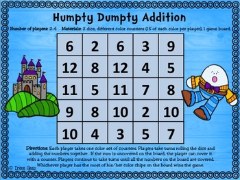 No Prep Print & Play Packs ~ Nursery Rhymes Themed Math Games ~