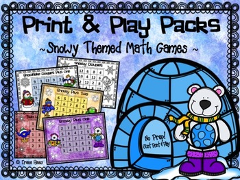No Prep Print & Play Packs ~ Snow Themed Math Games For Winter ~