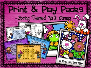 Spring No Prep Print & Play Packs ~ Spring Themed Math Fact Practice Games ~