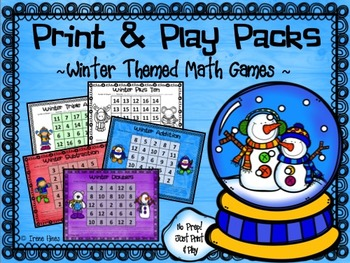 No Prep Print & Play Packs ~ Winter Themed Math Fact Practice Games ~
