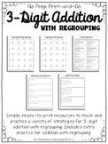 3-Digit Addition with Regrouping Strategies and Practice No Prep Print and Go