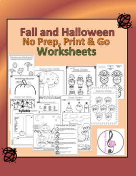 No Prep, Print and Go Fall and Halloween Music Worksheets