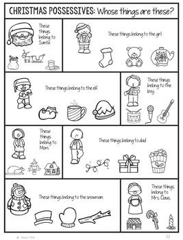 No Prep Print and Go Language Worksheets: Christmas