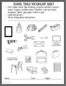 No Prep Print and Go Language Worksheets: Back to School