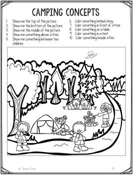 No Prep Print and Go Language Worksheets: Camping