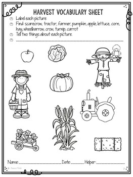 No Prep Print and Go Language Worksheets: Fall-Autumn