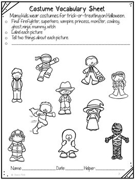 No Prep Print and Go Language Worksheets: Halloween