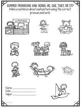 No Prep Print and Go Language Worksheets: Summer