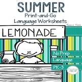 No Prep Print and Go Language Worksheets: Summer